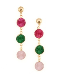 Fashion Rose Red Imitation Natural Stone Earrings