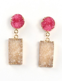 Fashion Red Resin Square Natural Stone Earrings