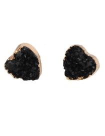 Fashion Black Heart-shaped Imitation Natural Stone Earrings