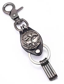 Fashion Ancient Silver Horse To Success Metal Leather Keychain