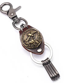 Fashion Bronze Horse To Success Metal Leather Keychain