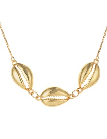 Fashion Gold Copper Three Shell Necklace