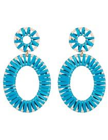 Fashion Blue Oval Lafite Woven Earrings