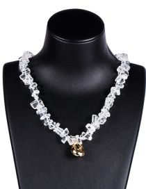 Fashion White Acrylic Crystal Alloy Shell Necklace