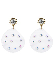 Fashion White S925 Silver Needle Acetate Plate Set With Five-pointed Star Diamond Earrings