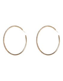 Fashion 8th Gold Large Circle With Diamond Earrings