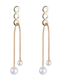 Fashion Gold Alloy Rope Pearl Earrings