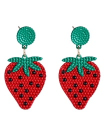Fashion Red Alloy Spray Paint Strawberry Earrings