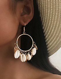 Fashion Gold Shell Big Ring Earrings