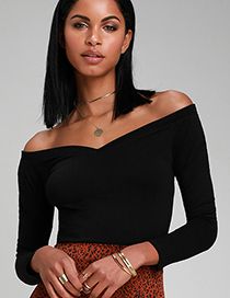 Fashion Black Off-the-shoulder Big V-neck T-shirt