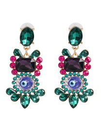 Fashion Color Geometric Eye Diamond Earrings