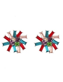 Fashion Color Flower And Diamond Earrings