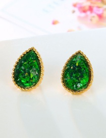 Fashion Green Oval Drop Earrings