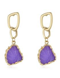 Fashion Purple Imitation Natural Stone Geometric Earrings