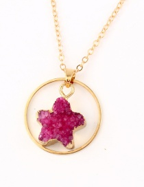 Fashion Rose Red Natural Stone Round Star Necklace