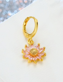Fashion Pink Round Crystal Flower Zircon Earrings