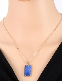 Fashion Blue Rectangular Imitation Natural Stone Resin Necklace