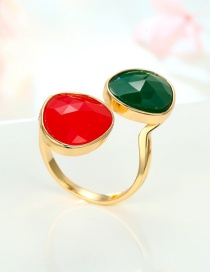 Fashion Red And Green Geometrically Adjustable Resin Ring