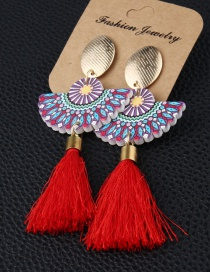 Fashion Red Fan-shaped Fringed Wood Earrings