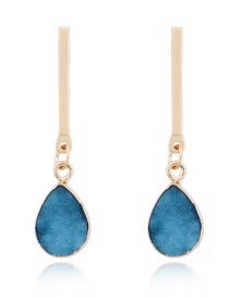 Fashion Blue Imitation Natural Stone Drop Earrings