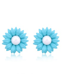 Fashion Blue Resin Flower Earrings