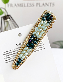 Fashion Green Alloy Resin Beads Duckbill Hairpin