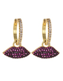 Fashion Gold Copper Inlaid Zircon Mouth Stud Earrings