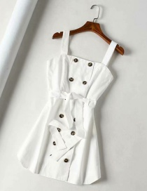 Fashion White Double-breasted Suspender Dress