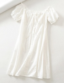 Fashion White One-shoulder Lace-up Dress