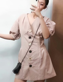 Fashion Naked Pink Single Row Button Lantern Sleeve V-neck Dress