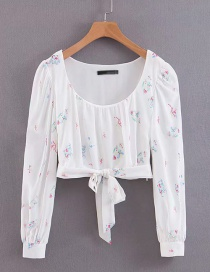 Fashion White Flower Print Lace-up Shirt