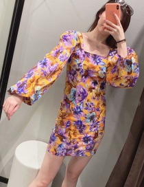 Fashion Yellow Fluffy Sleeved Floral Print Square Neck Dress