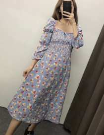 Fashion Gray-blue Square Collar Cropped Sleeves Floral Print Lace Dress