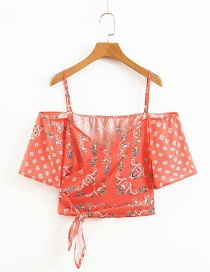 Fashion Red Flower Print Sling V-neck Lace Shirt