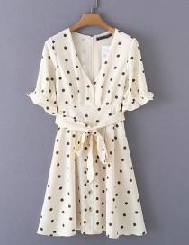 Fashion Cream Color Polka Dot Printed V-neck Sleeve Tie Lace Dress
