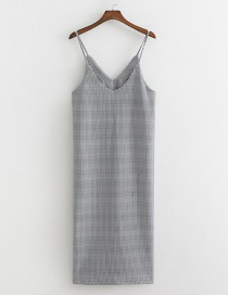 Fashion Gray Textured Sling V-neck Split Dress