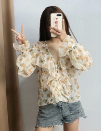 Fashion Beige Flower Print Polka Dot Laminated V-neck Shirt