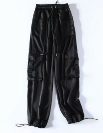 Fashion Black Silk Glossy Overalls