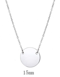 Fashion Steel Color Stainless Steel Geometric Round Glossy Necklace