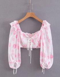 Fashion Light Pink Strap: Waist: Ruffled: Short Shirt