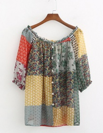 Fashion Color Patchwork Flower Print Single-breasted Shirt