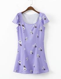 Fashion Purple Flower Print Dress