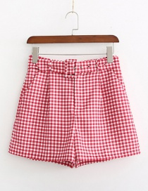 Fashion Red Plaid Printed Belt Shorts