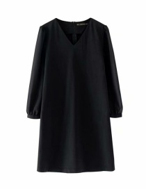 Fashion Black High-rise V-neck Long-sleeved Chiffon-paneled Dress