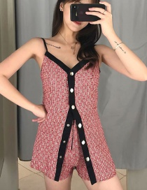 Fashion Red Wool Sling Single-breasted Jumpsuit
