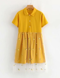 Fashion Yellow Mesh Embroidered Lapel Single-breasted Dress