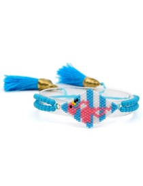 Fashion Blue Rice Beads Woven Flamingo Crystal Tassel Bracelet