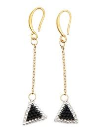 Fashion Black Rice Beads Woven Triangle Earrings