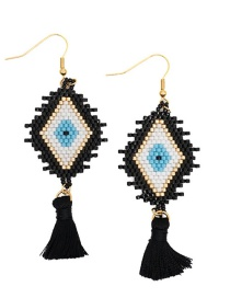 Fashion Black Rice Beads Woven Eye Tassel Earrings