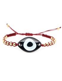 Fashion Wine Red Big Eye Glass + 4mm Gold Beads Braided Bracelet